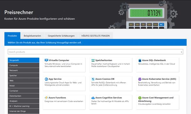 Einstieg in Microsoft Azure - Screenshot Preisrechner